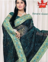 Saree with Light Green Border